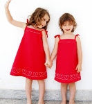 plantilla bordado corazones y patrón vestido niña