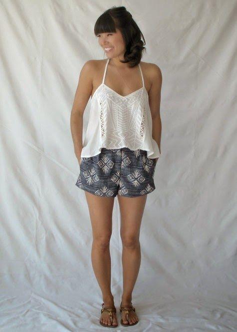 patron de shorts o pantalones cortos