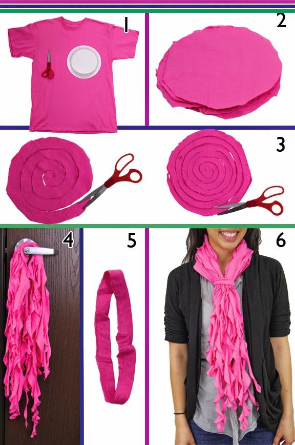 paso a paso para hacer un foulard con tiras de camiseta