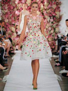 vestido floral Oscar de la REnta